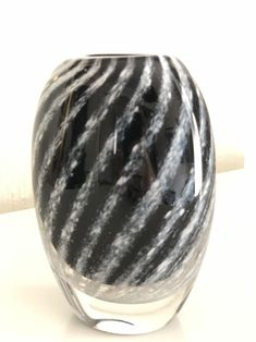 Excited to share this item from my shop: Vicke Lindstrand crystal vase with black stripe pattern / glass art for Kosta Boda Kosta Boda, Crystal Vase, Stripe Pattern, Black Stripes, Sea Shells, Glass Art, Best Gifts, Etsy Shop, Shapes