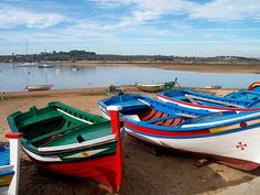 Portuguese fishing boats, Portugal Row Row Your Boat, Row Row Row, Small Fishing Boats, Small Boats, Portugal Places To Visit, Sea Activities, Portuguese Culture, Sunny Beach, My Ancestors