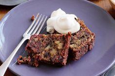 Beetroot, raisin and walnut cake with bourbon cream - Strange(ly appealing?)