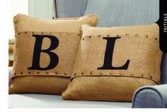 Initial Pillow Wrap-initial pillow wrap, burlap pillow wraps,
