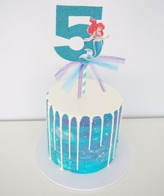 Watercoloured buttercream with white choc drip and little mermaid topper Little Mermaid Parties, The Little Mermaid, 4th Birthday, Birthday Cake, Sea Cakes, Drip Cakes, Buttercream Cake, Ariel, Ava