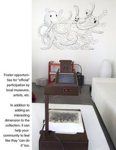 Shine an image on your wall with an overhead projector trace it