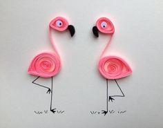 Pink Flamingos Greeting Card, quilled art, quilled blank card with two flamingos New! Pink Flamingos Greeting Card, quilled art, quilled blank card with two flamingos Neli Quilling, Quilling Images, Paper Quilling Cards, Paper Quilling Patterns, Quilled Paper Art, Quilling Paper Craft, Paper Crafting, Quilling Birthday Cards, Quilled Roses