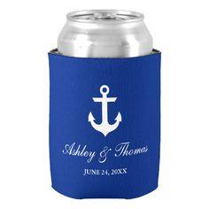 Nautical Wedding Anchor Blue Can Cooler