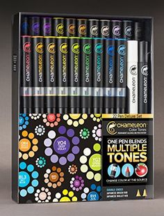 Create stunning effects such as 3D, smooth transitions, highlighting, shading,gradations and blending, all with one pen. Chameleon Alcohol Color Tone Marker Set of 22 - Deluxe Kit