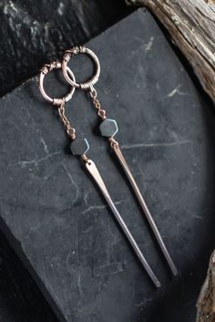 Thin long copper stud earrings with cute hematite hexagrams and flat hammered bars.  Dangle minimalist jewelry.  Lightweight copper stick earrings for every day