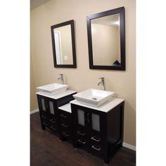 Paris 60-Inch Espresso Double-Sink Bathroom Vanity With Mirrors kokols modern double 60-inch free standing bathroom vanity sink