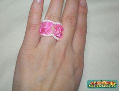 Ring beaded pink mood.  Master class / Beading / Beaded Jewellery