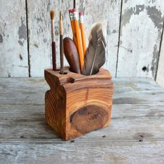 One of a Kind Small Desk Caddy Reclaimed wood. by PegandAwl