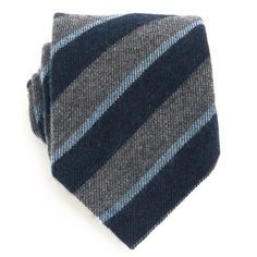 Navy Blue Grey and Light Blue Cashmere Tie