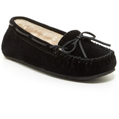 Minnetonka Junior Trapper Faux Fur Lined Moccasin Slipper (Women) ($29) ❤ liked on Polyvore featuring shoes, slippers, flats, black and footwear