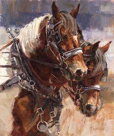 Lindsey Bittner Graham, Paint Team Thunder, oil, 36 x Painted Horses, Art Occidental, Work Horses, Animal Paintings, Horse Paintings, Pastel Paintings, Cowboy Art, Horse Drawings, Southwest Art