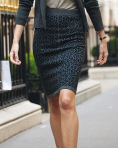 Cashmere Knitted Jacquard Pencil Skirt