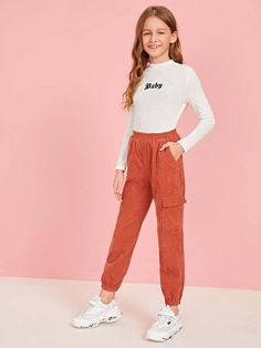 Apr 2020 - Girls Mock-Neck Embroidered Detail Fitted Tee – Kidenhouse Preteen Girls Fashion, Girls Fashion Clothes, Teenage Girl Outfits, Cute Girl Outfits, Kids Outfits Girls, Teen Fashion Outfits, Cute Casual Outfits, Teenager Outfits, Cute Outfits For Kids