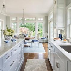 Kitchen with Gray Geometric Runner, Kitchen, Benjamin Moore Gray Owl