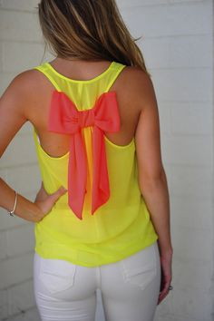 Dreaming Of You Tank: Neon Yellow/Pink