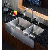 "Found it at AllModern - Ariel 35.88"" x 20.75"" Stainless Steel 16 Gauge 60/40 Double Bowl Farmhouse Kitchen Sink"