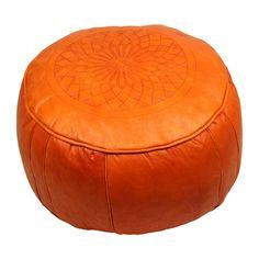 Casablanca Market Solid Color Leather Pouf