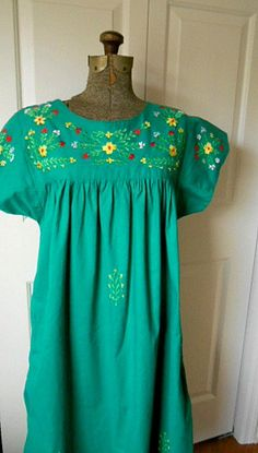 Vintage Boho green embroidered Mexican styled tent by houuseofwren