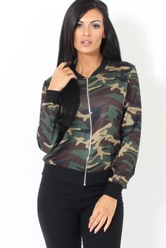 Ladies Army camo style bomber jacket