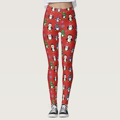 Christmas Penguins and Snowflakes Leggings - tap/click to personalize and buy #christmas #penguins #snowflakes #leggings #purple Red Leggings, Leggings Fashion, Snowflake Leggings, Penguin S, Christmas Leggings, Look Cool, Midnight Blue, Baby Bodysuit, Dressmaking