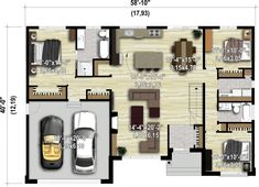 House architecture styles awesome floor plans new Ideas House Plan With Loft, Dream House Plans, Modern House Plans, Small House Plans, House Floor Plans, House Floor Design, House Architecture Styles, Small Cottage Homes, Modern Bungalow House