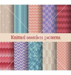 Knitted seamless patterns set vector - by natbasil on VectorStock®