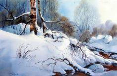 Снег норвежского художника  Aud Rye  яркий и плотный