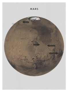 """As someone who loves maps, design, and space exploration, I think this beautifully minimal Mars poster at Editions of 100 is perfection. A 594x840mm / 23.4""""x33.1"""" gyclée print on heavyweight uncoated paper, its availability is true to the online shop's name, so act ASAP if you want one!  Get a closer look here.  Buy this poster"""