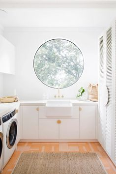 Sunken laundry sink—House By Three Birds Renovations x Sophie Bell, featuring Dulux White on White. Modern Laundry Rooms, Laundry In Bathroom, Small Laundry, Bathroom Tiling, Bathroom Ideas, Three Birds Renovations, Butler Sink, Freedom Furniture, Pink Tiles