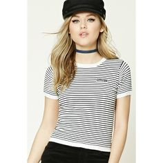 Forever21 Stripe Sassy Patch Top ($18) ❤ liked on Polyvore featuring tops, striped crop top, short sleeve tops, forever 21, stripe crop top and forever 21 tops