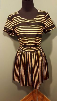 I Love H81 Forever 21 Black Tan Striped Scoop Neck Short Sleeve Cotton Dress S #ILoveH81Forever21 #EveningPartyDress #WeartoWork #daystarfashions $11.99 FREE SHIP