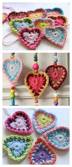 8 Heart Free Crochet Patterns You'll Love Crochet Boho Hearts Free Pattern by susana Learn the rudim Bag Crochet, Crochet Diy, Crochet Motifs, Crochet Flower Patterns, Crochet Squares, Love Crochet, Crochet Gifts, Crochet Flowers, Knitting Patterns