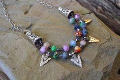 Czech Glass Multi Strand Necklace, Crystal, Boho, Tribal, Hippie, arrow head Silver charms (349)