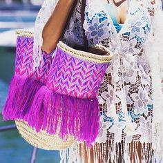 Carry all you need colorfully. @lecabasdanna #beach #sun #handbags #fashion #pool