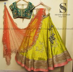 Beautiful parrot green color lehenga and bottle green color blouse with orange color net dupatta. Lehenga and blouse with hand embroidery gold and silver thread work. 22 January 2018