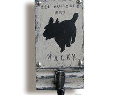 Dog Art Leash holder Hand Painted Dog Leash Hook por bonnielecat
