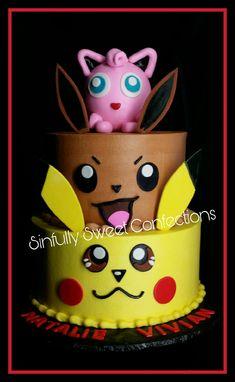 Buttercream Pokemon Birthday cake Pokemon Themed Party, Pokemon Birthday Cake, 10 Birthday Cake, 6th Birthday Parties, Birthday Ideas, Pokemon Cupcakes, Pikachu Cake, Happy Birthday Sam, Girl Cakes