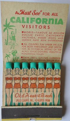 Matchbook art! Old Hearst Ranch, California  I have never seen this before... Creative!!