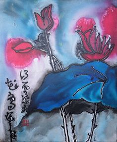 #manythings Inspired by Chinese Brush Painting and a lovely view of red #water lilies on water at sunset.. Original painting on canvas with inks,acrylic paint, m...