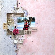 Scraps Of Darkness Scrapbook kits: Mixed media winter layout, created with our Nov 2016 kit, by TatianaYemelyanenko