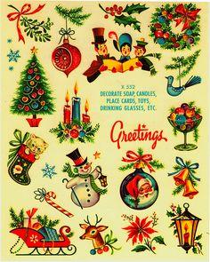 I love Vintage Christmas! Vintage transfer decals of Christmas images Old Time Christmas, Old Fashioned Christmas, Noel Christmas, Christmas Greetings, Winter Christmas, Christmas Crafts, Christmas Decals, Christmas Stuff, 1950s Christmas