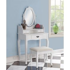 Ribbon Wood White Makeup Vanity Table and Stool Set   Overstock.com Shopping - The Best Deals on Bedroom Accents