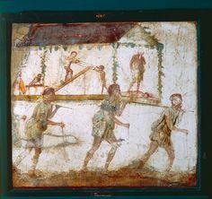 Fresco depicting procession of carpenters - Carpenter's Workshop at Pompeii