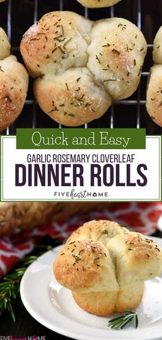 A quick and easy Garlic Rosemary Cloverleaf Dinner Rolls perfect for Thanksgiving Christmas or holiday dinner! This quick and easy recipe uses frozen bread dough as a shortcut ingredient. Theyre so simple and fun that you can even put the kids to work Dinner Rolls Easy, Frozen Dinner Rolls, Dinner Rolls Recipe, Quick Rolls, Thanksgiving Dinner Recipes, Holiday Dinner, Holiday Recipes, Rolls For Thanksgiving, Fall Recipes