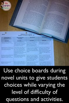Meet your students' varying needs with motivating student through choice by using choice boards in the classroom to differentiate during novel units, homework assignments, author studies, and other units of study. Education And Literacy, Education Humor, Special Education, Art Education, Differentiation In The Classroom, Choice Boards, Middle School English, Teaching Reading, Teaching Literature