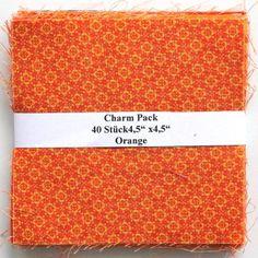 """asc-020-6010 40 x (4,5"""" x 4,5"""" - ~ 11,43 cm x 11,43 cm) Charm Pack - 40 orange Basics, 20 verschiedene Stoffe, jeweils zweimal - Stoffzusammenstellung variiert"""