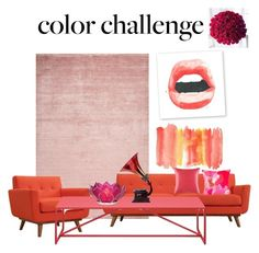 """red & pink"" by mveltmuisenco on Polyvore featuring interior, interiors, interior design, home, home decor, interior decorating, Modway, KAS Australia, Cultural Intrigue and colorchallenge"