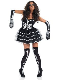 FUN3075 Skeleton Tutu Dress Costume