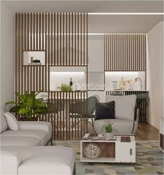 Wood Slat Wall, Wood Slats, Small Living Rooms, Home And Living, Door Dividers, Room Partition Designs, Modern Home Interior Design, Panel, Home Decor Bedroom
